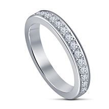 Superb Platinum Fn 925 Sterling Silver White Simulated Diamond Wedding Band Ring - $44.10