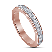 Dazzling White Simulated Diamond Rose Gold Finish .925 Sterling Silver Band Ring - $44.10