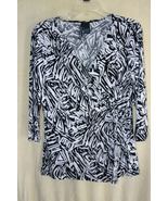 Saint Tropez West Black/White Summer Blouse  SZ  L    NWOT - $7.99