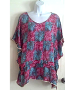 TOLANI  Silk Top/Swimsuit Cover-up or Tunic Blouse Drawstring Women's Si... - $24.99