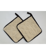 "Lot of 2 -Terry Cloth 8""x8"" Choice Potholder/Hot Pad - Natural/Black #09... - $12.99"