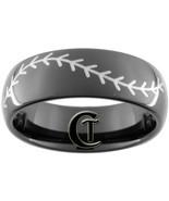 8mm Black Dome Tungsten Carbide Baseball Stitch... - $49.00
