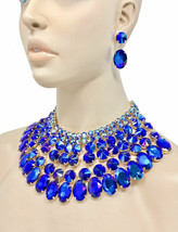 Cleopatra Necklace Earring Set Iridescent Royal Blue Crystals Drag Queen Pageant - $61.75