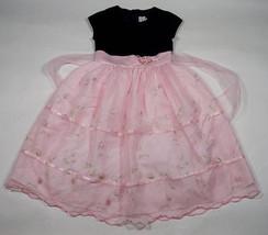 DIMPLES SZ 6X DRESS ELEGANT PINK FLOWERS BLACK VELVET SPECIAL OCCASSION ... - $25.24