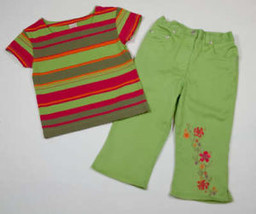 Copper Key Girls Size 5 6 Top Capri Pants New Green Stripe Shirt Floral 5 6 - $18.50