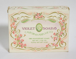 VIOLET SOAPS CALIFORNIA PERFUME CO AVON 1980 ANNIVERSARY SET OF 2 3 OZ S... - $10.09