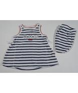 CARTERS BABY GIRLS 3M DRESS SET BY THE SEA FISH SEASHELLS NAUTICAL STRIP... - $9.25