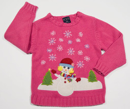 The Childrens Place Girls Size 5 6  Sweater Pink Snowman Snowgirl Tcp Snowflake - $12.61