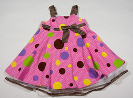 RARE EDITIONS GIRLS SIZE 24M DRESS PINK BROWN POLKA DOTS SPRING SUMMER E... - $16.82