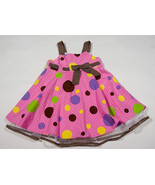 RARE EDITIONS GIRLS SIZE 24M DRESS PINK BROWN POLKA DOTS SPRING SUMMER E... - $16.82