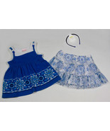 NANNETTE GIRLS 24M OUTFIT MEDITERRANEAN BLUE HEART MOSAIC TOP SKORT SET ... - $18.50