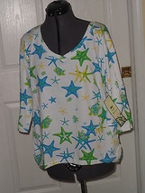 Palm Harbour Knit Shirt Size Pxl Stretch White Blue Yellow Starfish Inwt - $15.79