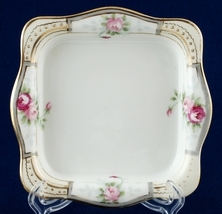 Nippon Square Ice Cream Dish Trinket Tray Hand Painted Roses Flowers  - $12.99