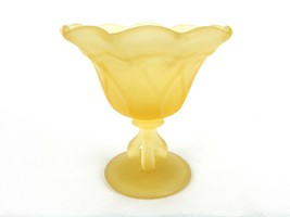 Westmoreland Satin Glass 3 Legged Compote Ruffled Top Gold Satin Glass - $22.49