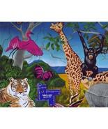 COTTON FABRIC~Vibrant JUNGLE ANIMALS~Tiger Zebr... - $14.35