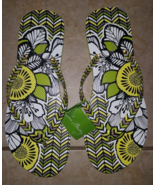 Vera Bradley Citron Green Flip Flops Size Large , New With Tags  - $23.00