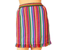 Peruvian fabric, High Waisted, Pencil skirt, Tribal Miniskirt with Fringe - $32.00