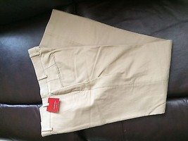 NWT NEW Saks Fifth Ave. Red Mens Trim Fit cotton Chino Pants Flat Front ... - $33.85