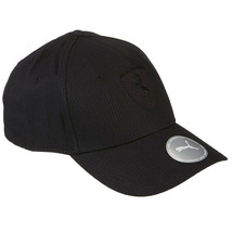 Puma Ferrari Black Logo Hat LS BB Wide Brim Strap Back Baseball Cap 022525 01
