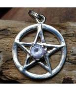 Divine Protection Pink Lazurine Silver Pentacle Amulet Aura Cleanse & Healing  - $70.00