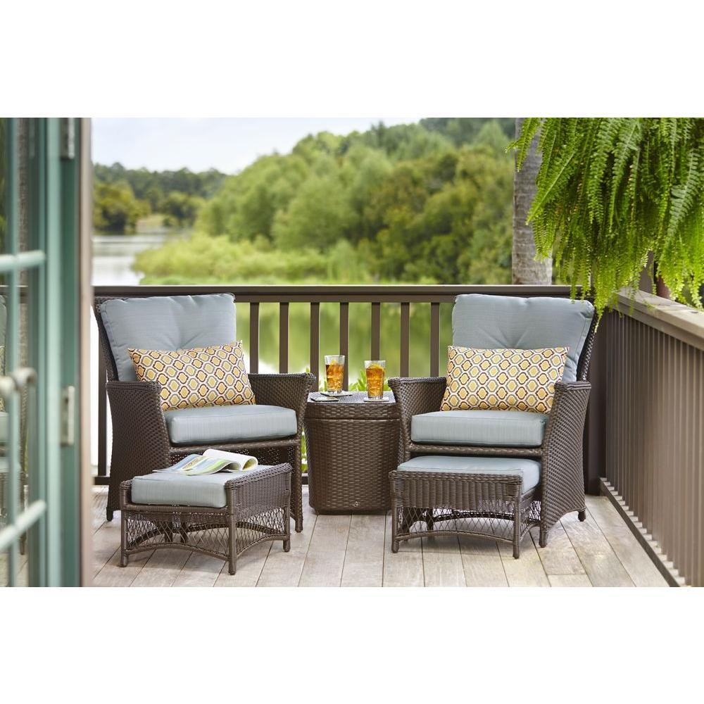 Merveilleux Hampton Bay Blue Hill 5 Piece Patio Conversation Set