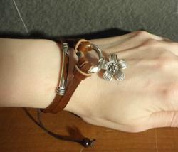 Gypsy/Boho/Hippie Strappy Brown Leather Flower Bracelet - $6.79
