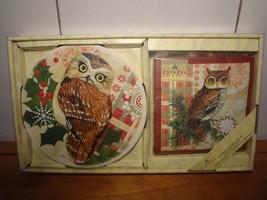Holiday Owl Large Coaster/Trivet and Cocktail napkin Hostess Set - $8.12