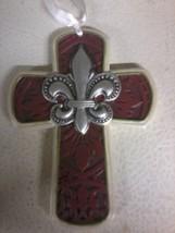 Fluer Di Lis Cross Ornament (red) - $4.80