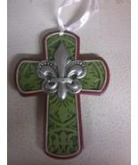 Fluer Di Lis Cross Ornament (green) - $4.80