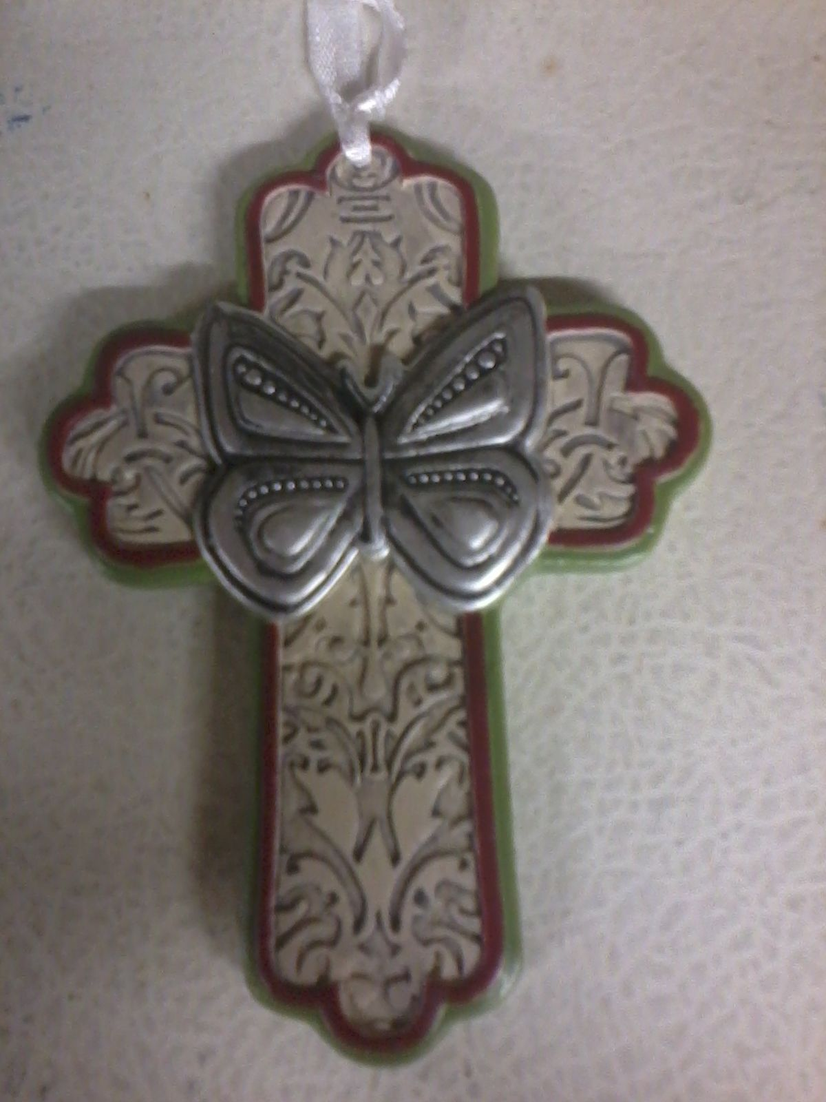 Primary image for Butterfly Cross Ornament (ivory)