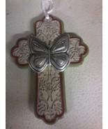 Butterfly Cross Ornament (ivory) - $4.80