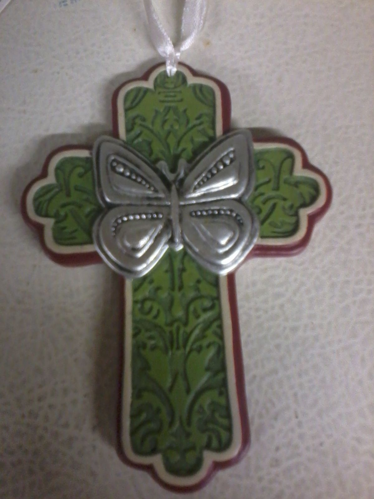 Primary image for Butterfly Cross Ornament (green)