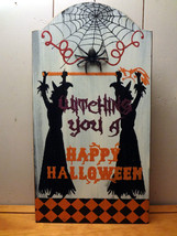 """""""Witching You A Happy Halloween"""" Wooden Wall Plaque (Sign) - $10.78"""