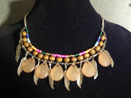 Gypsy/Boho/Hippie Wood Bead and Metal Feather Necklace - $12.79