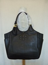 NWT Tory Burch Black Pebbled Leather Thea Round Tote - $495 - $394.02
