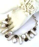 Handmade 925 Sterling Silver Biwa Pearl and Smo... - $60.80