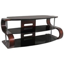 "60"" Modern Curvy TV Stand S-shaped Dark Wood w/Black Glass Shelf TV-TS-120 - $311.00"