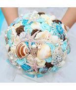Blue brooch bouquet, custom ocean theme wedding bouquet, starfish,shells... - $185.00