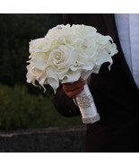 White calla lily, crystal bouquet, wedding bridal bouquet, White Rose Bo... - $100.00