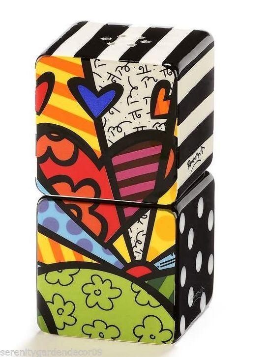 Romero Britto Ceramic Square Stacking Salt & Pepper Shakers - A New Day Design