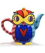 Romero Britto Ceramic Teapot - Owl Design  53 oz size #334154 - $79.11
