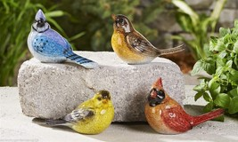 Set of 4 Bird Figurines - Cardinal, Blue Jay, Yellow Bird, Home Garden Decor