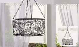 "28"" Hanging  Basket Iron & Glass Tealight Holder - 8 Tealight Glass Holders"