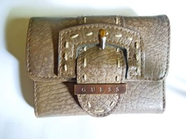 Guess trifold wallet with buckle medium brown light copper details - $8.00