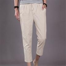 The new summer mens pants men loose linen pants casual pants image 3