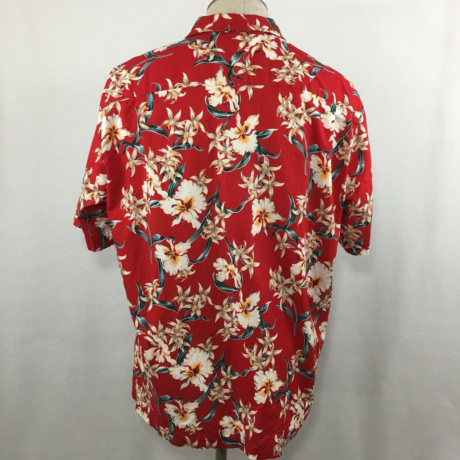 Royal Creations Mens Hawaiian Shirt Size XL Red Welt Pocket Aloha VTG Made USA