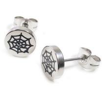 Pair Stainless Steel Silver Black Spider Web Heart Post Stud Earrings 8mm - $7.69