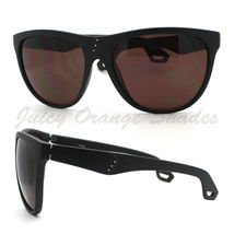 Womens Oversized Sunglasses Overlap Button Design Shades MATTE BLACK, Brown - $6.88
