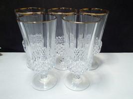 5 Cristal d'Arques Gold Rim Iced Tea Goblets ~~ Valencay ?? ~ gorgeous - $59.99