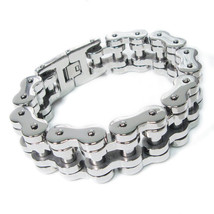 "Stainless Steel Heavy Polish Tank Chain Men Bracelet 22mm 9"" - $50.00"